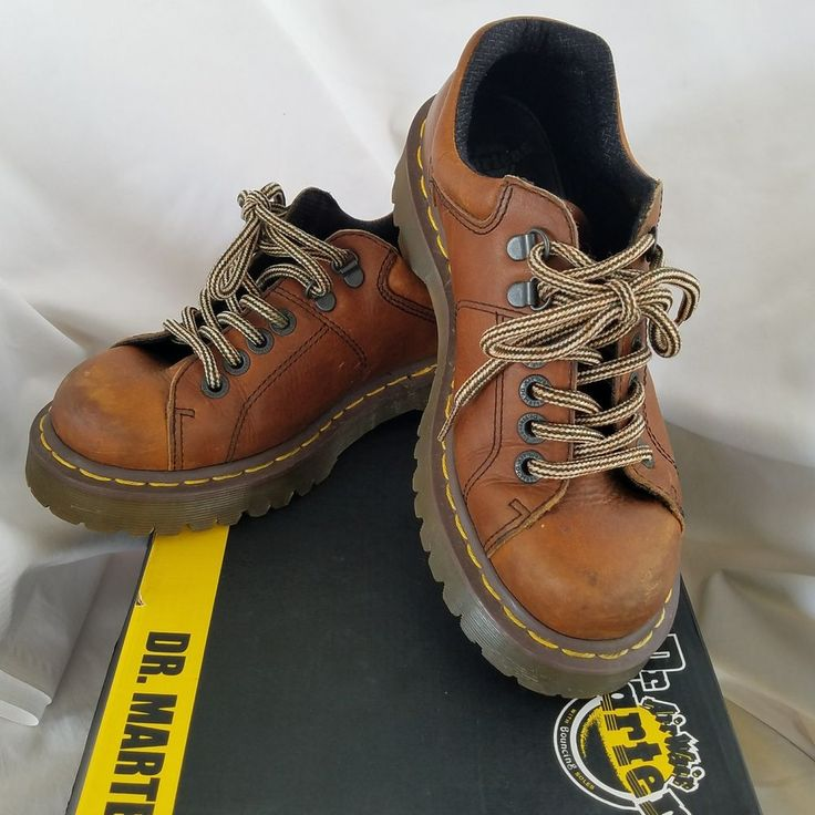 DR Martens Air Brown Leather Ankle Boots Lace up AW004 MEN'S US 6 Womens 8 NEW #DrMartens #AnkleBoots