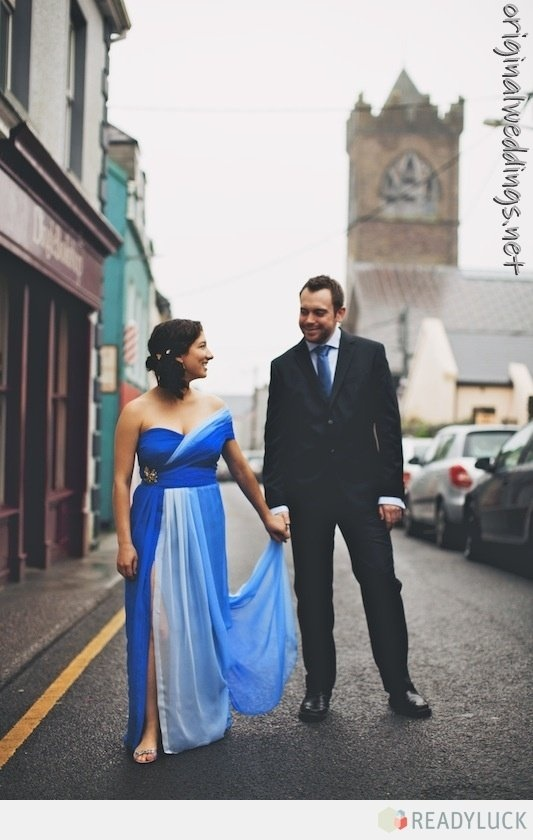 the bride wore blue. #wedding #gown (stumbled on this at http://originalweddings.net )