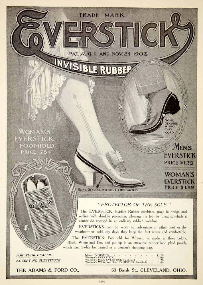 1907 Ad Everstick Invisible Rubber Adams Ford Company Shoes Fashion Feet YDL4