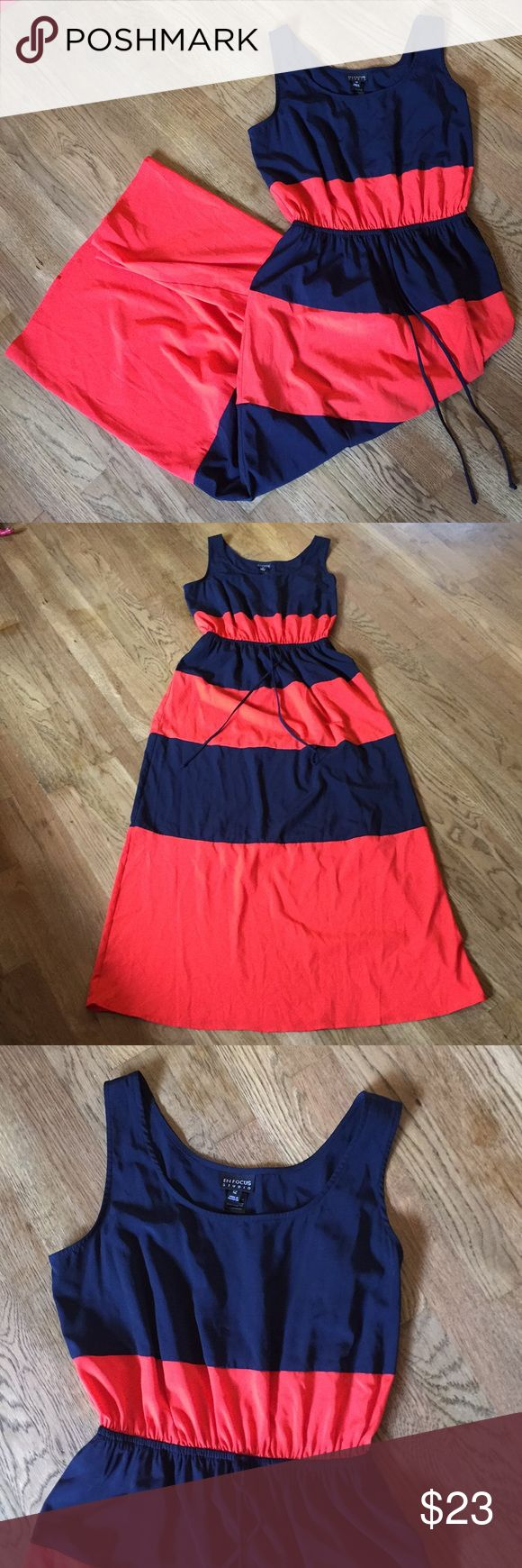 Stripped maxi dress Beautiful striped maxi dress. Gathered waists for a flattering fit. Navy blue and bright red almost orange. en focus Dresses Maxi