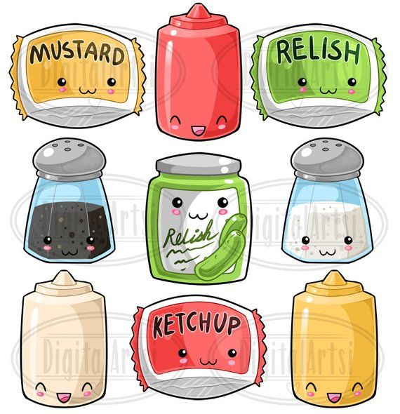 Kawaii Condiments Clipart Cute Condiments Download Kawaii Etsy In 2021 Kawaii Clipart Cute Food Art Kawaii