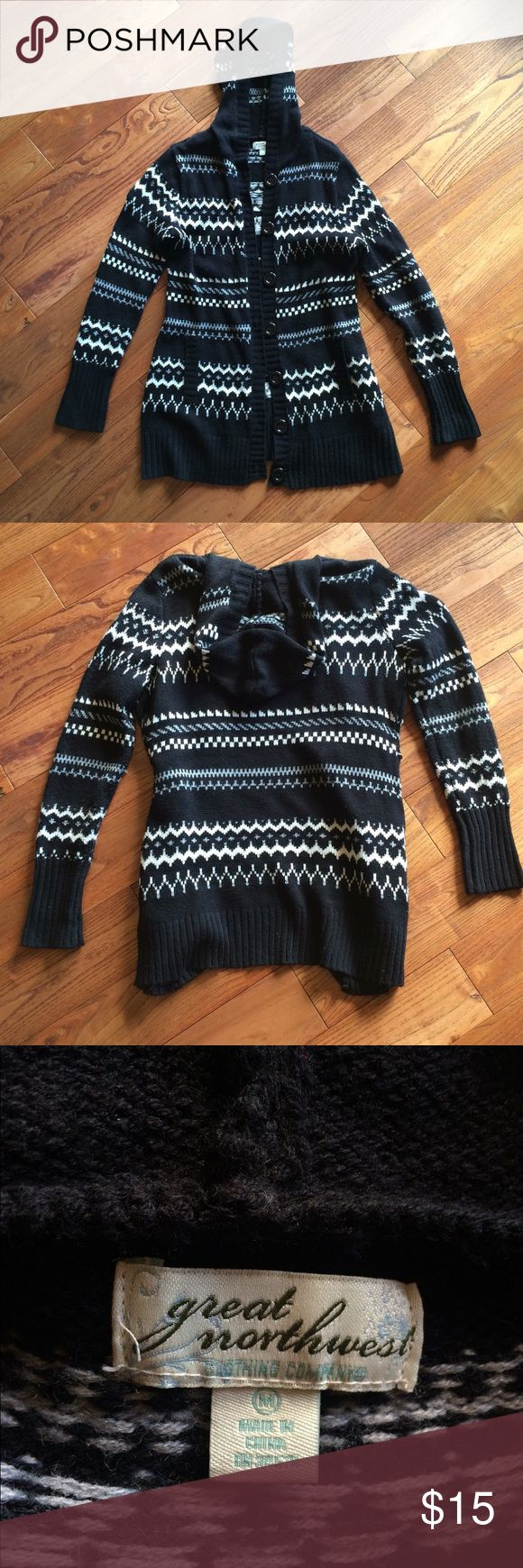 Black & White Button up sweater cardigan W/hood M Black & White Button up sweater cardigan W/hood M. Looks great with a pair of leggings a boots. Used condition. Great northwest Sweaters Cardigans