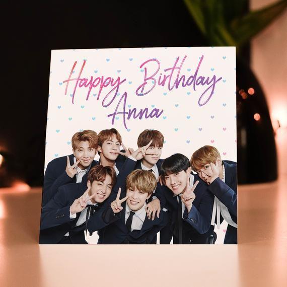 Personalised Bts K Pop Birthday Card Bts Birthday Card Old Birthday Cards Bts Birthday