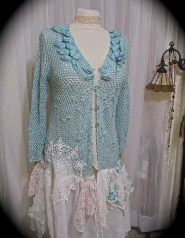 Shabby Teal Sweater, soft pastel crocheted sweater, romantic hankie embellished, long cotton sweater, beach summer clothing MEDIUM LARGE