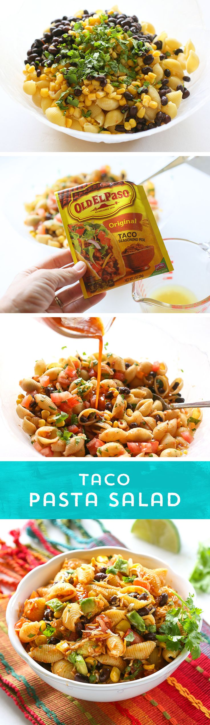 Need an easy dinner idea, or a party dish to share? This Taco Pasta Salad from @GirlWhoAte is perfect! It comes together quickly, and you can control the spice- just add more or less Old El Paso Taco Seasoning™ and your favorite salsa! Stand out at the party with this pasta salad with southwestern flair!