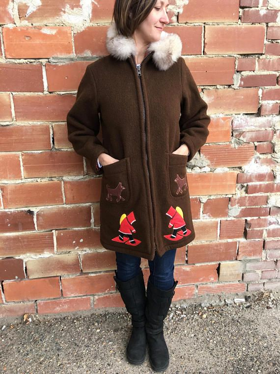 vintage authentic eskimo parka rich brown inuit coat made in