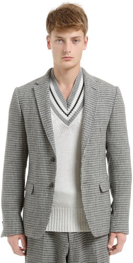 Z Zegna Wool Blend Houndstooth Jacket