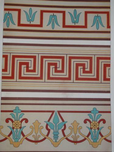 Litho-couleur-DECORATION-ARCHITECTURE-FRISE-PAPIER-PEINT-1860-NAPOLEON-III-d
