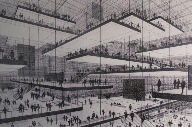 Conrad Roland, Drawing of an exhibition hall with floating levels,1963.  人