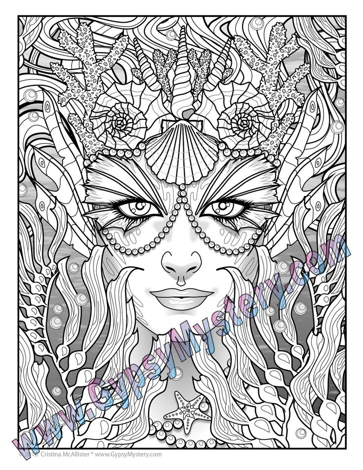 single coloring page siren from the magical beauties paint programcoloring