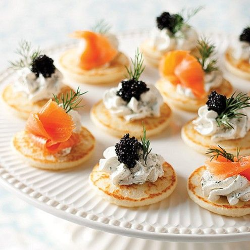 Mini Blinis with Smoked Salmon and Caviar