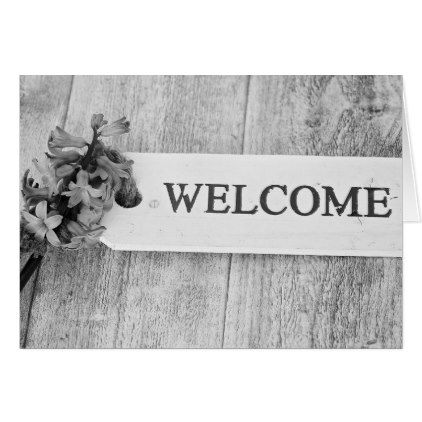 Hyacinth Purple Wood Sign Spring Floral Welcome Card - floral style flower flowers stylish diy personalize