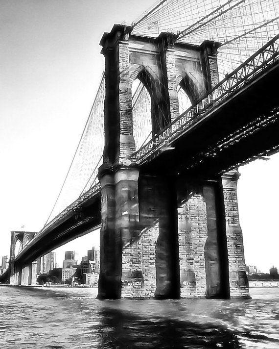 "11""x14"" black and white Brooklyn Bridge print on metallic ..."
