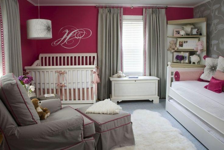 Gray and Pink Nursery - Contemporary - nursery - Benjamin Moore Peony - Liz Carroll Interiors