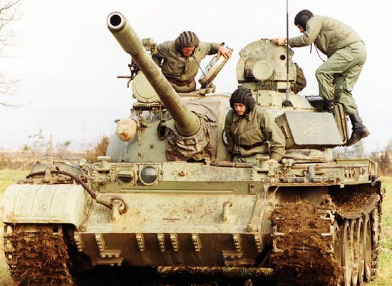 Serbia and Montenegro Army T-55A tank.