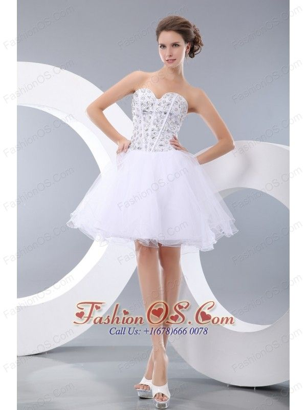 Cute White A-line / Princess Sweetheart Evening Dress Organza Beading Mini-length- $119.12  www.fashionos.com  | 2014 prom dress | plus size homecoming prom dress 2013 | custom made homecoming prom dress | 2013 2015 short prom cocktail gown | prom dress inspired by natalie portman at the black swan | tide buy prom dress | evening dress with low price |