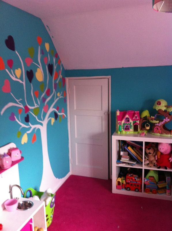Girls Play Corner With Hand Painted Tree On Wall