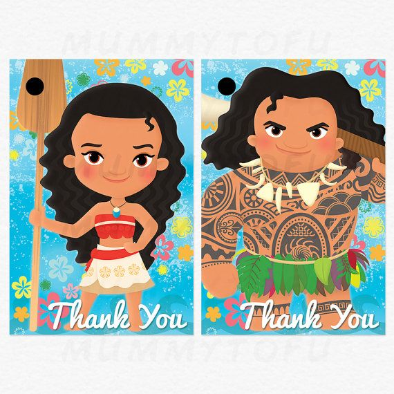 Moana Birthday Thank You Favor Tags   Moana Maui Pua Hei Hei