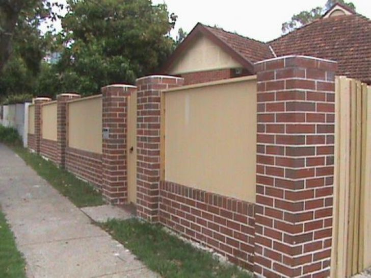 Image result for brick and wood fence