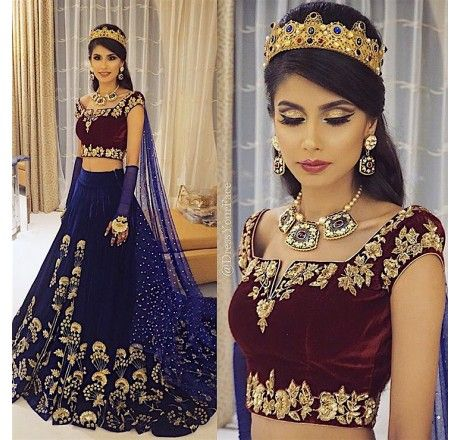 Designer embroidered blue lehenga choli (semi stitched)