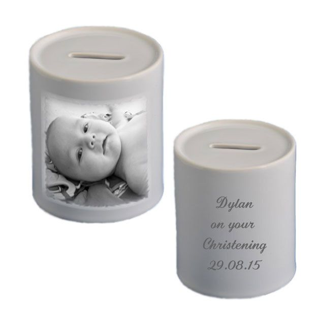 Personalised money box, add your own photo and text, ideal for Christening, Holy Communion, new born gift. by cjcprint on Etsy