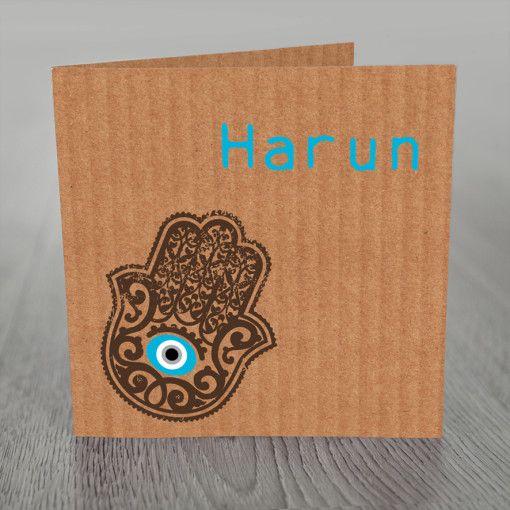 Geboortekaart kartonlook en Hamsa, hand van Fatima.