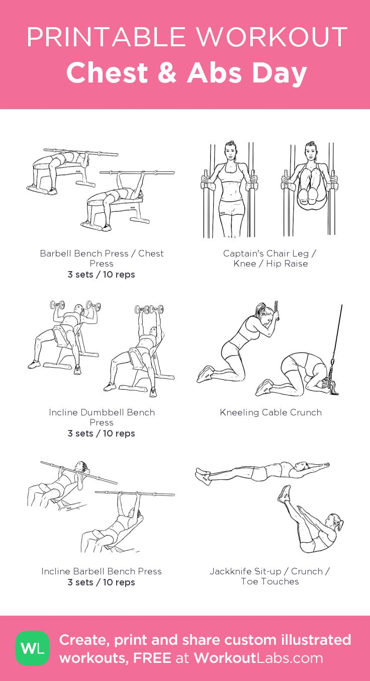 Chest & Abs Day: my visual workout created at WorkoutLabs.com • Click through to customize and download as a FREE PDF! #customworkout