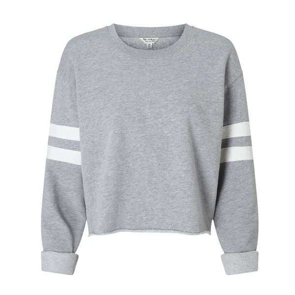 Grey Stripe Sleeve Sweatshirt (110 BRL) ❤ liked on Polyvore featuring tops, hoodies, sweatshirts, striped tops, stripe top, gray sweatshirt, sleeve top and gray top
