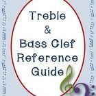 Treble and Bass Clef Reference Guide  This product is great for students to have as a reference guide for the names of the lines and spaces on the treble and bass stave.   The first page contains a diagram showing each note on the stave and its position on the keyboard.