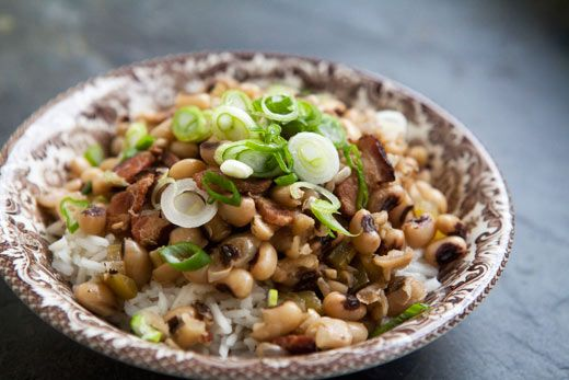 A classic Southern dish to celebrate New Year's. The black-eyed peas are for good fortune in the coming year.