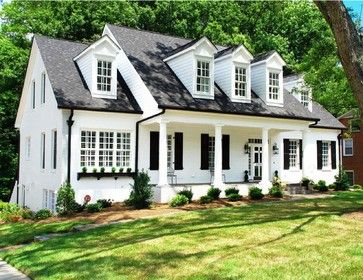 White Brick Ranch Black Shutters Black Eaves Troughs And