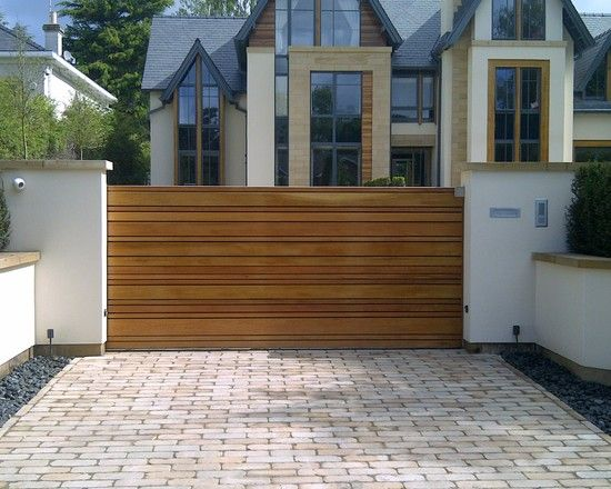 Great Ideas for Driveway Gate Designs Wood Materials : Awesome Driveway Gate Designs Wood With Brick Walkway At Excellent Contemporary Exterior