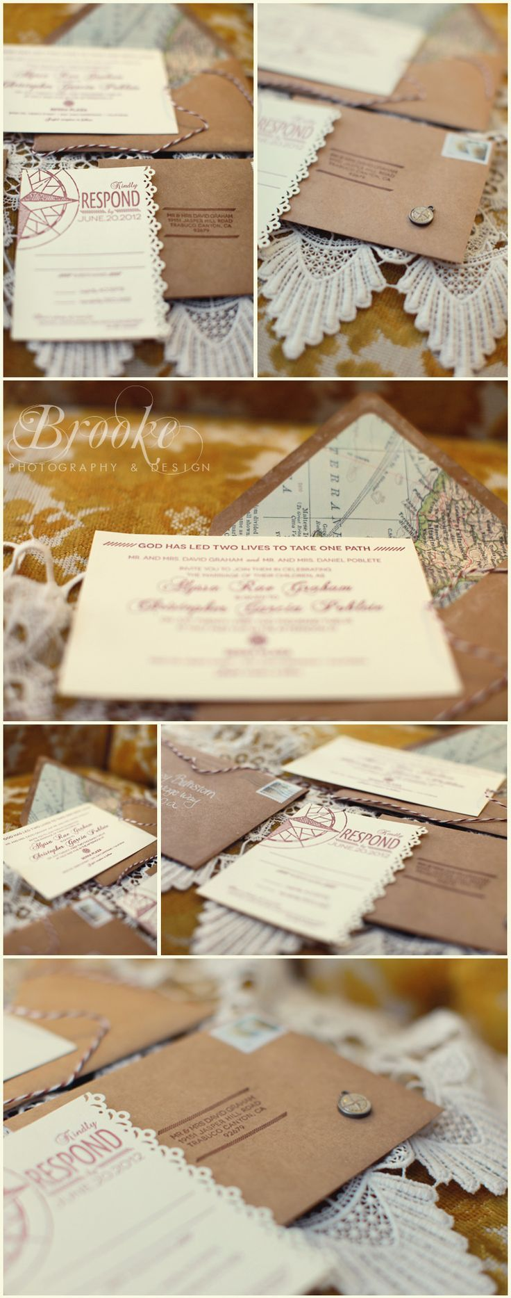 diy wedding invites rustic%0A rusticchic  vintage  lacey  modern  wedding invitations with map liners