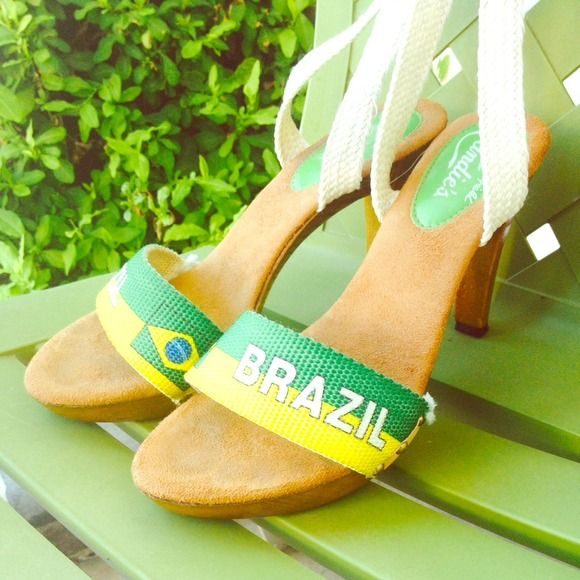 "Patricia Fields for Candies ""Brazil"" sandals. Sandals with thick cloth band, cloth ankle ties and wooden heel.  A little worn but fixable. A true retro fashionista iconic sandal. Patricia Fields is the award winning stylist for ""Sex in the City"" and ""Ugly Betty"". Patricia Fields Shoes Sandals"