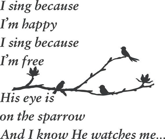 Song I sing because Im happy His eye is on the sparrow Matthew 6: 25-34 Wall Art Words Vinyl Lettering Decal