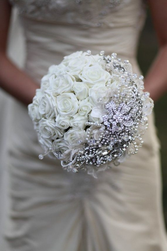 All white - Jeweled wedding bouquet.