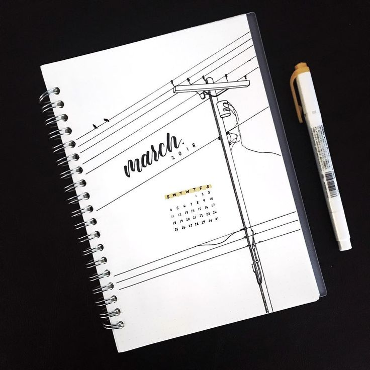 Bullet journal monthly cover page, March cover page, electricity pole drawing. @amy.studies