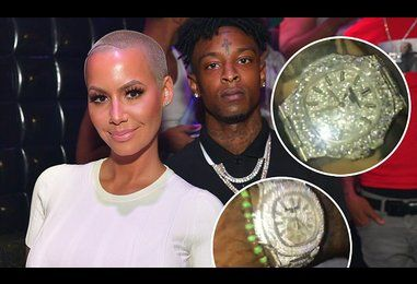 Amber Rose and boyfriend 21 Savage flaunt $55k watches