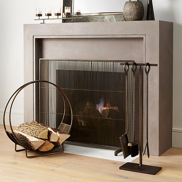 Polished Nickel Fireplace Screen Reviews Crate And Barrel