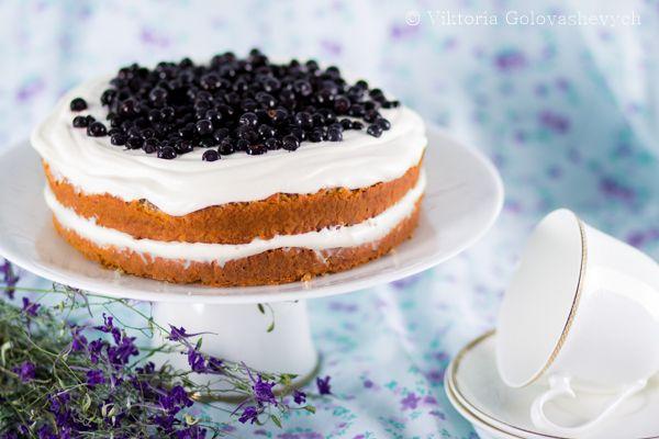 Чернично-лавандовый торт