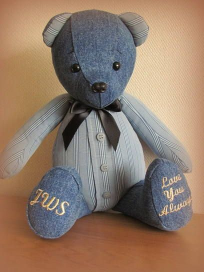 This Remembrance Bear is made from a favourite shirt and pair of jeans. Made in memory of a much loved Husband.