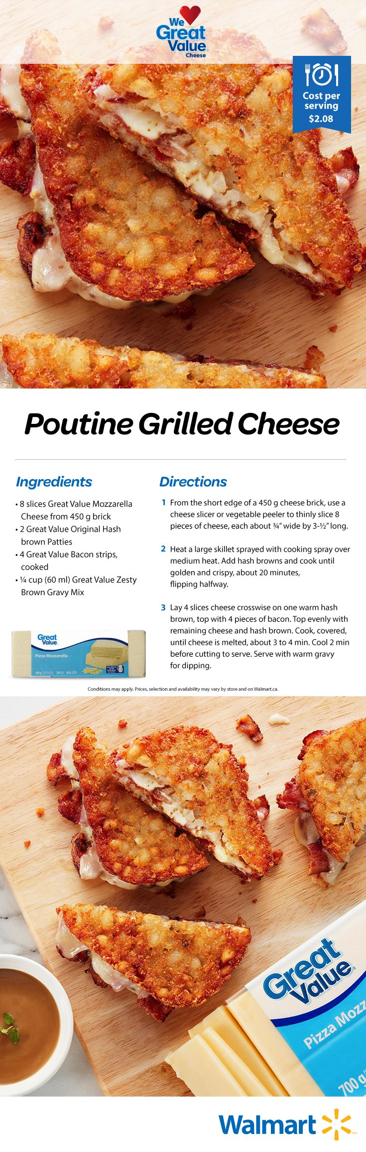We have crafted a grilled cheese sandwich that will not just make your day better, but possibly your life: Poutine Grilled Cheese! Grab our Great Value Pizza Mozzarella Cheese and whip these up for the family. Only $2.08 per serving. #grilledcheese #grilledcheesesandwiches #sandwiches #cheesesandwiches #poutine #pountinegrilledcheese #kidfriendlylunch #lunches #lunchrecipes #grilledcheeserecipes #realsolutions #savemoneyeatbetter