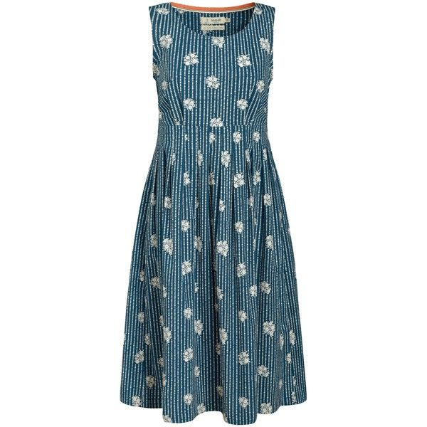 Seasalt Gylly Sleeveless Print Dress, Delfy Posy Chalk found on Polyvore featuring polyvore, fashion, clothing, dresses, sleeveless maxi dress, summer dresses, pleated maxi dress, fit & flare dress and fit and flare dress