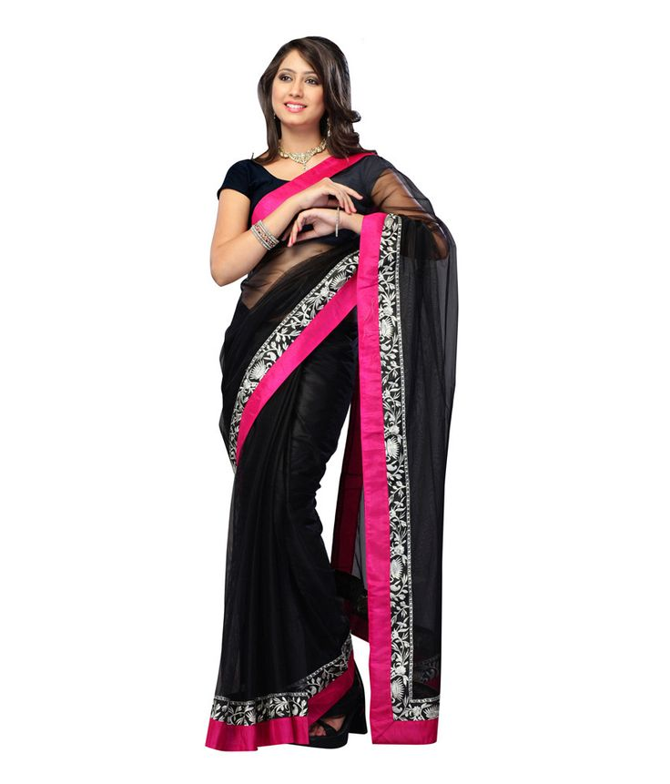 India Craft Black Embroidered Faux Georgette Saree With Blouse Piece