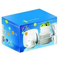 Gibson Elite Salena 34 pc. Square Porcelain Dinnerware Set - White