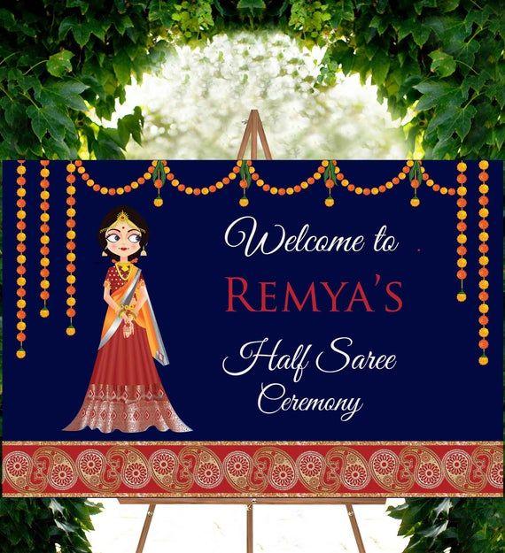 Half Saree Function Sign Half Saree Ceremony Welcome Sign Etsy Half Saree Function Half Saree Wedding Signs