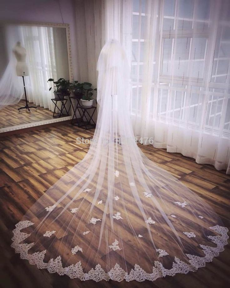 veu de noiva 3 metros 2015 Cathedral Wedding Veil Long Lace Appliques Bridal Veils Wedding Accessories