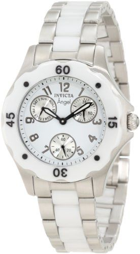 Invicta Women`s 1651 Angel White Dial White Ceramic and Watch $358.50
