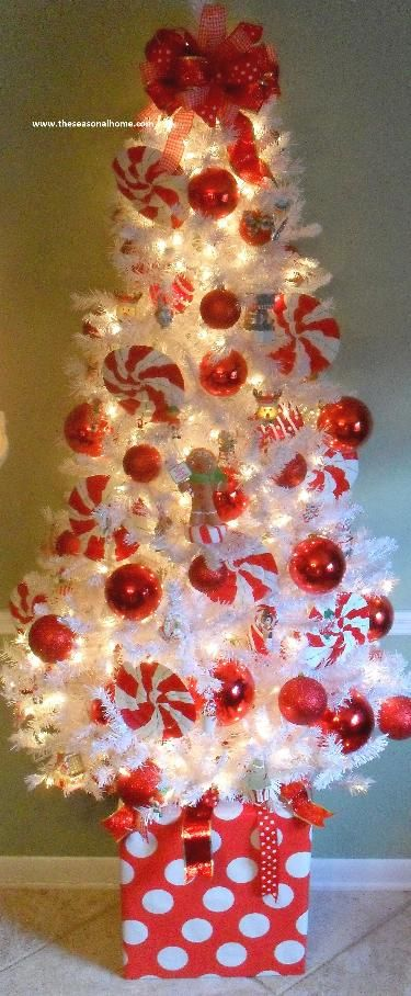 Candy Cane Tree~ cute idea- Cover a box with wrapping paper to put the tree inside. I love white tiny trees!