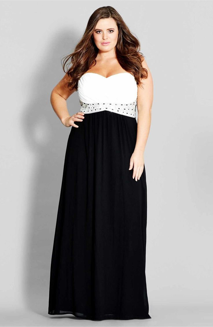 Main Image - City Chic 'Contrast Camilla' Embellished Strapless Maxi Dress (Plus Size)